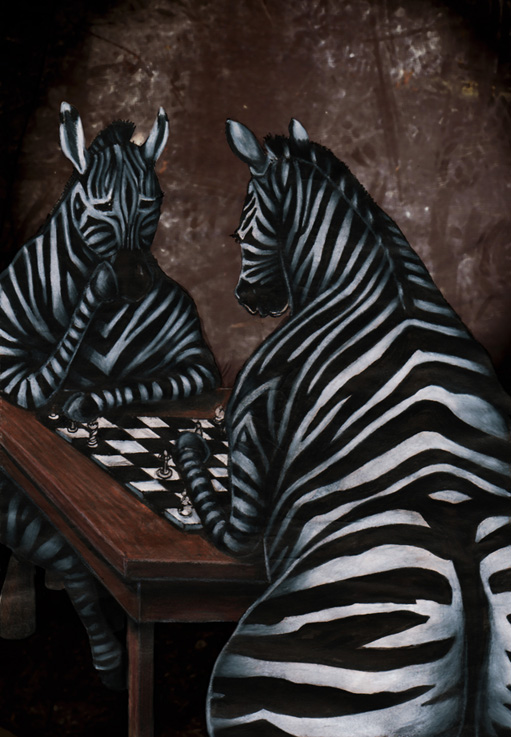 Zebras playing chess